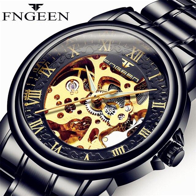 Reloj de pulsera FNGEEN de la mejor marca para hombre, reloj deportivo mecánico de acero inoxidable negro, bobinador automático, relojes de pulsera masculinos negros 8818