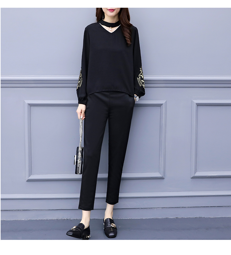 Spring Summer Two Piece Sets Women Plus Size Black Red Embroidery Long Sleeve Tops And Pants Suits Office Elegant Korean Sets 29