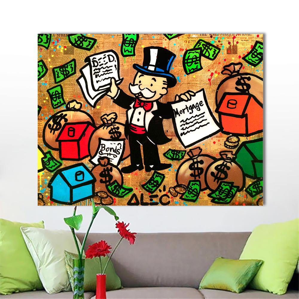 Sticker wall graffiti - Qk Art Office Motel Home Decor Graffiti Wall Pictures For Living Room Alec Monopoly Gambles In Hongkong Mortgage Canvas Art
