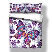 Juego de cama de edredón de mariposa púrpura con juego de ropa de cama de animales doble tamaño de Reina completa 3 piezas