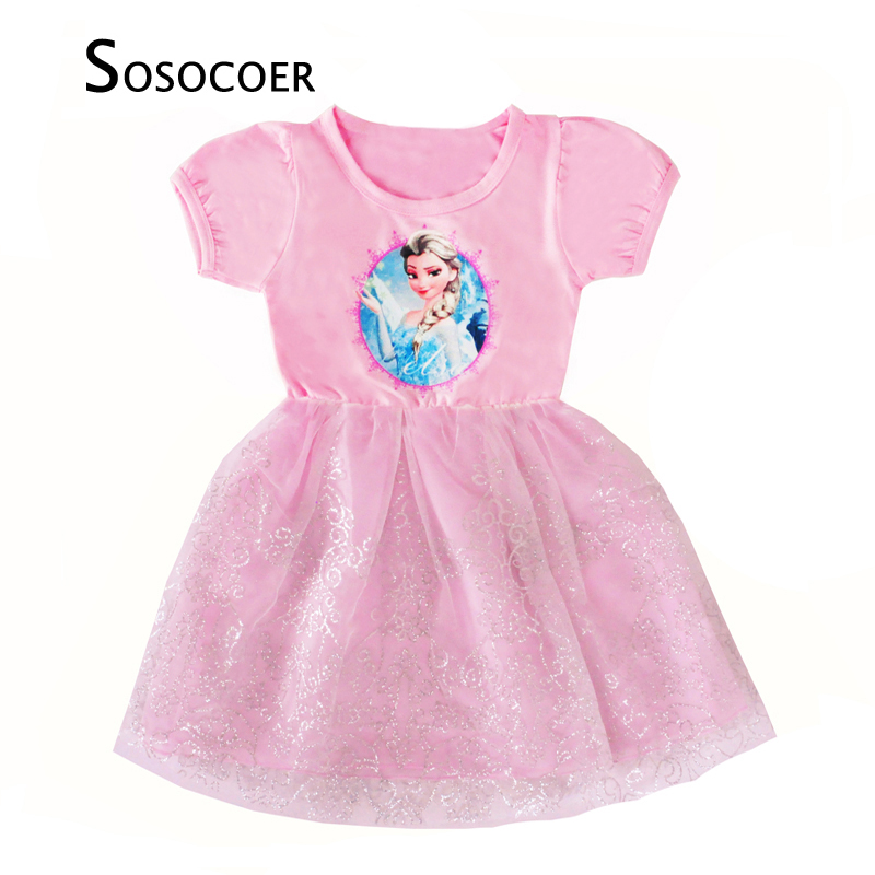 SOSOCOER Girls Princess Dress Anna Elsa Dress Children Clothing New Summer Brand Lace Toddler Girl Dresses Kids Clothes Outfits 2 7y princess children girls white lace dress brand new long sleeve toddler kids elegant party dresses one pieces clothing