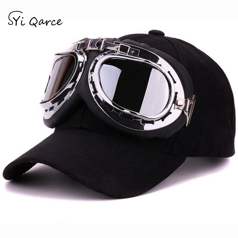 SYi Qarce 6 Colors Winter Spring Summer Adjustable   Baseball     Cap   with Ski Goggles for Men Women Outdoor Leisure Sun Hat NM409-13
