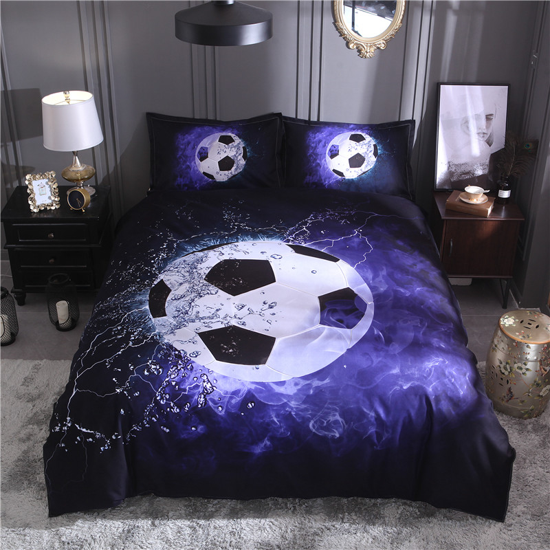 Football Printed Bedding Sets Duvet Cover Set 3pcs Bed Set Twin Double Queen size Bed linen Bedclothes(No Sheet No Filling)