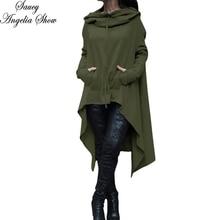 SAUCY ANGELIA Women Army Green Hooded Long Sleeve Maxi Autumn Dress Irregular Stretchy Loose Party Dresses Casual Vestidos XXXXL
