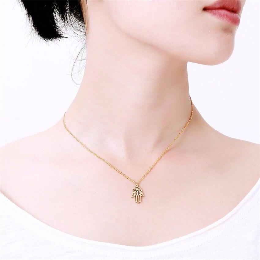 ACEBFEET zaščita Fatima Hand Evil Eye Eye obesek ogrlica za ženske - Modni nakit - Fotografija 6