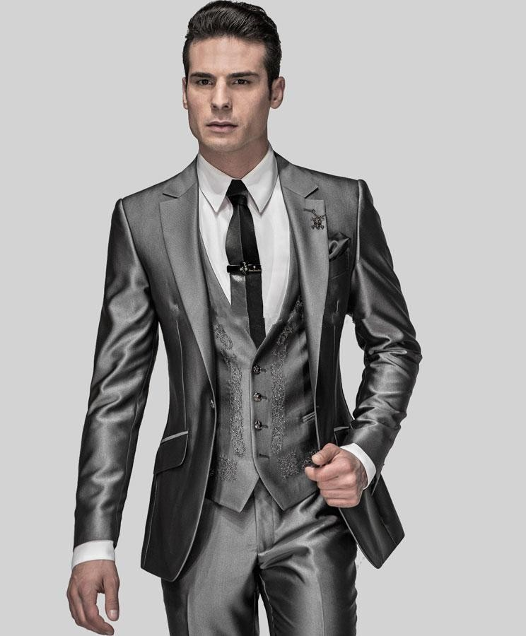 2017 High Quality Shiny Silver Men Suits Tailored Black Bridegroom