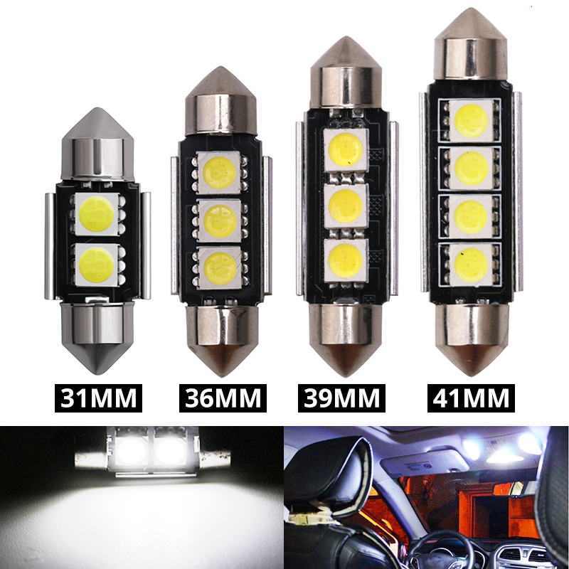 B3 2PCS Auto Car Festoon Light Interior Red 6 LEDs Dome Lamp Bulb 39mm Long