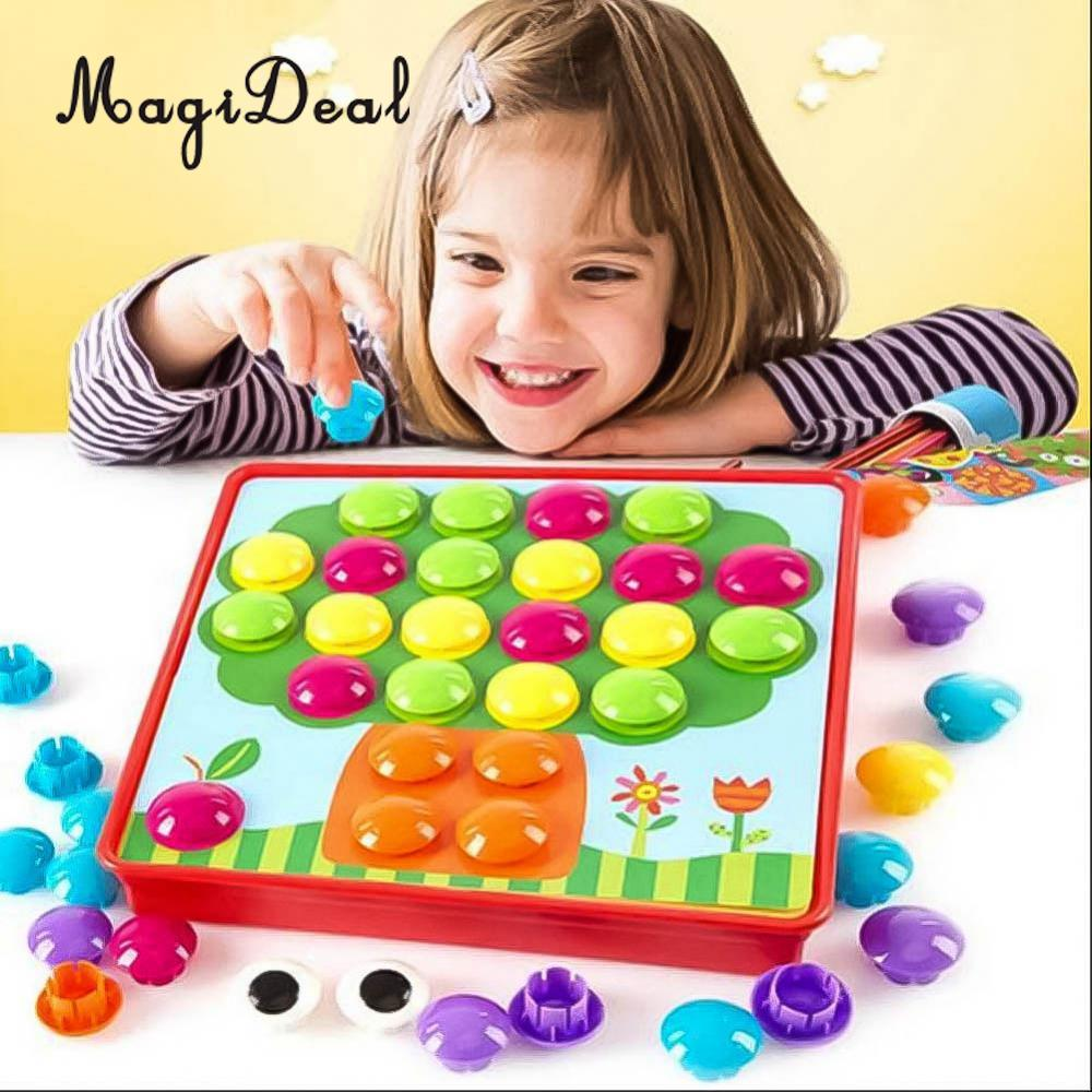 MagiDeal Creative Mushroom Button Nail Puzzles Board Game for Kids Children Educational Toys Develop Hand-Eye Coordination Gifts