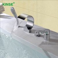 KINSE Brass Material Chrome Finish Four Pieces Waterfall Bathtub Faucet C Shape Bathroom Bath Tub Mixer