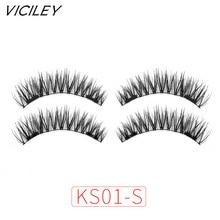 VICILEY 6D magnetic eyelashes with double tiny magnets Natural False Eyelashes Handmade Eye Lashes Extension KS01-SY
