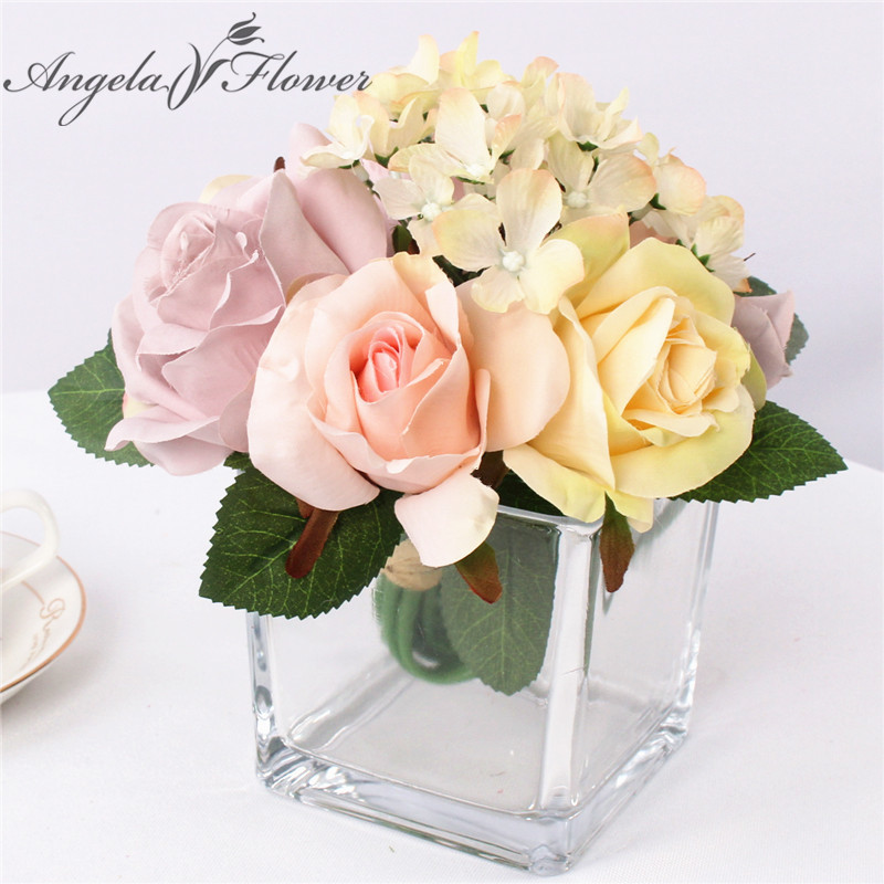 Artificial champagne rose silk hydrange mix flower bouquet wedding ...