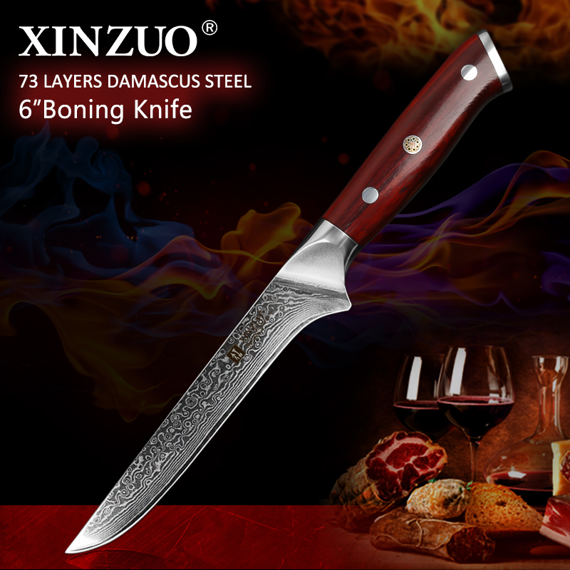 XINZUO 6 Boning Fish Knife vg10 Damascus Steel Lasting Sharp Kitchen Knives Rosewood Handle 2019 New