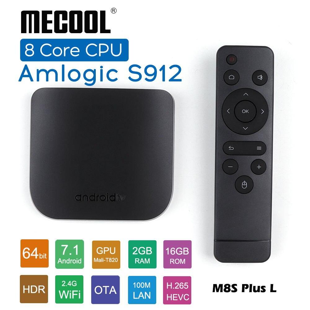 Amlogic S912 Octa Core Smart TV BOX CPU ROM 2 grammes 16G 2.4G WiFi 4K Ultra mince HD Android TV Box lecteur multimédia Mecool M8S PLUS L