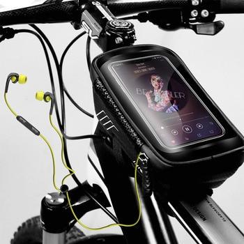 WILD MAN Mountain Bike Bag Rainproof Waterproof Mtb Front Bag 6.2inch Mobile Phone Case Bicycle Top Tube Bag Cycling Accessories 9