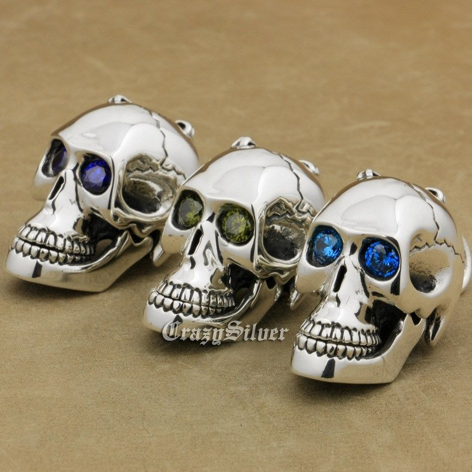 CZ Eyes Skull Mouth Jaw Openable 925 Sterling Silver Mens Biker Rocker Punk Pendant 8C113 (Only Pendant)CZ Eyes Skull Mouth Jaw Openable 925 Sterling Silver Mens Biker Rocker Punk Pendant 8C113 (Only Pendant)