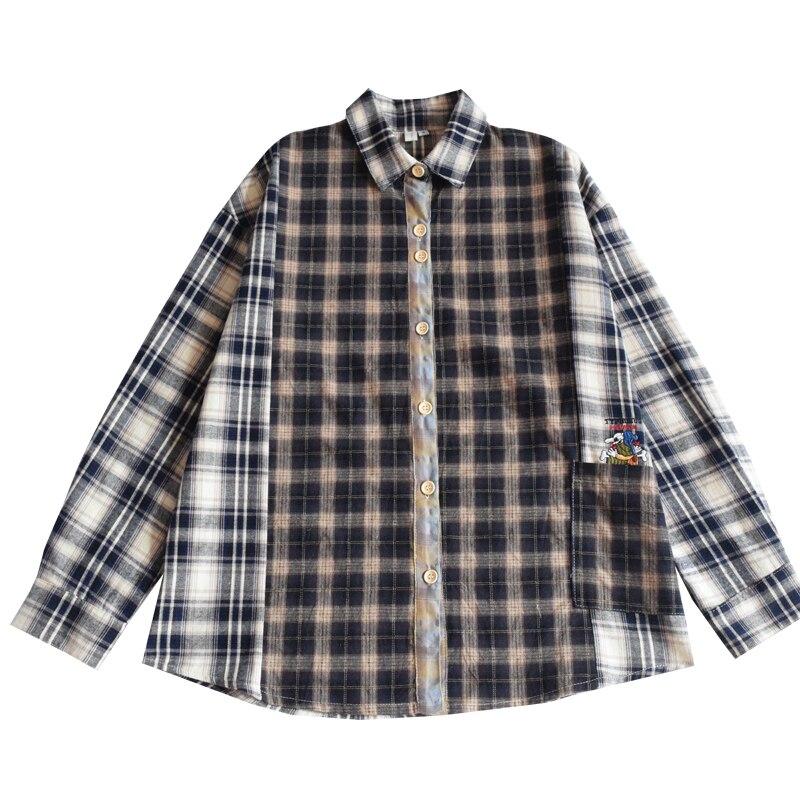 Chemisier chemise femmes à manches longues treillis imprimé Long Kimono Cardigan Blusas vêtements d'extérieur décontracté lâche femme Top vêtements d'extérieur
