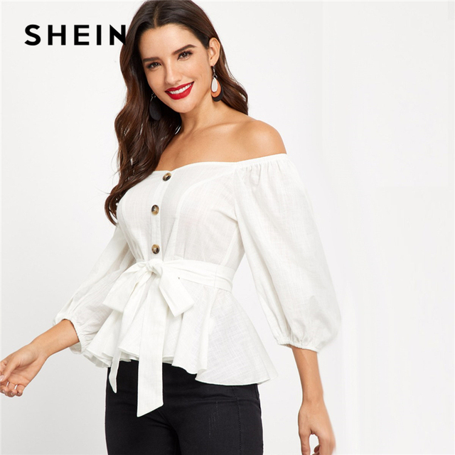 d82a4b115a SHEIN White Cotton Off Shoulder Self Tie Waist Peplum Bishop Sleeve Top  Women Workwear Autumn Elegant Minimalist Blouses