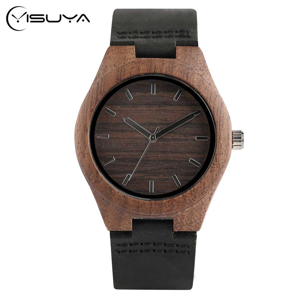 YISUYA Women Bamboo Wooden Wrist Watch Ladies Elegant Casual Genuine Leather Band Quartz Women Watches Handmade Wood Clock Reloj simple handmade wooden nature wood bamboo wrist watch men women silicone band rubber strap vertical stripes quartz casual gift page 8