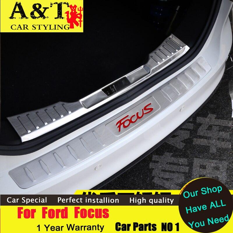 ФОТО car styling For Ford Focus Rearguard 2012-2015 For Ford Focus Rear fender trunk trim strip bars Rear Racks  car styling