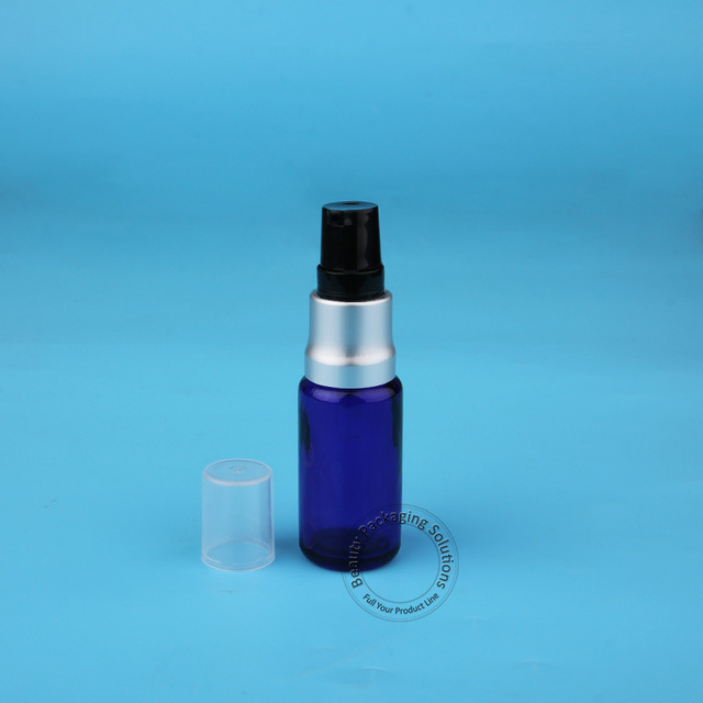 High Quality 15ml 10pcs/Lot Glass Spray Lotion Pump Bottle Essential Oil Jar Small 1/2 OZ Atomizer Cosmetic Container White Lid