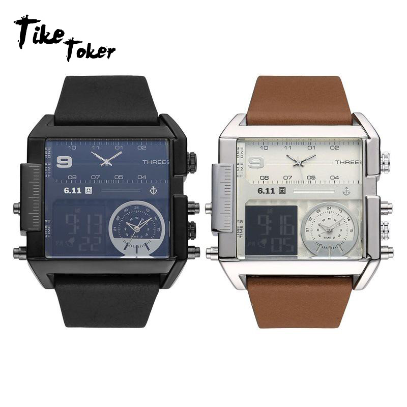 Digital Watches Qualified Tike Toker,brand Men Watches Three Time Zones Analog Electronics Movement Genuine Leather Strap Band Buckle Waterproof 08 Watches