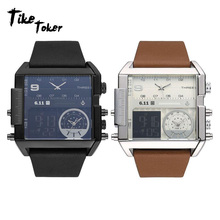 TIke Toker,Brand Men Watches Three Time Zones Analog Electronics Movement Genuine Leather Strap Band Buckle Waterproof 08