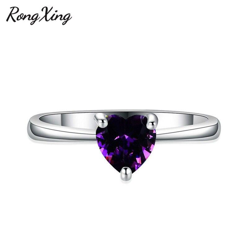 RongXing 925 пробы заполненный серебром браслет с сердцем из опала камень кольца для женщин Винтажная Мода фиолетовый/красный/синий/кольцо с зеленым Цирконом подарок - Цвет основного камня: Purple