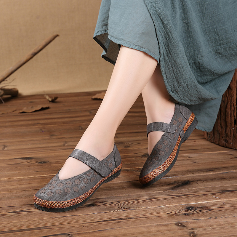 Del Nuevo Marrón otoño Zapatos Retro Cuero Cómodo Dedo Bombas De Johnature Genuino gris Y Bucle Mano Hechos 2019 Dama Tótem Redondo Gancho A Sólido Primavera Pie 5SxvnxtOq