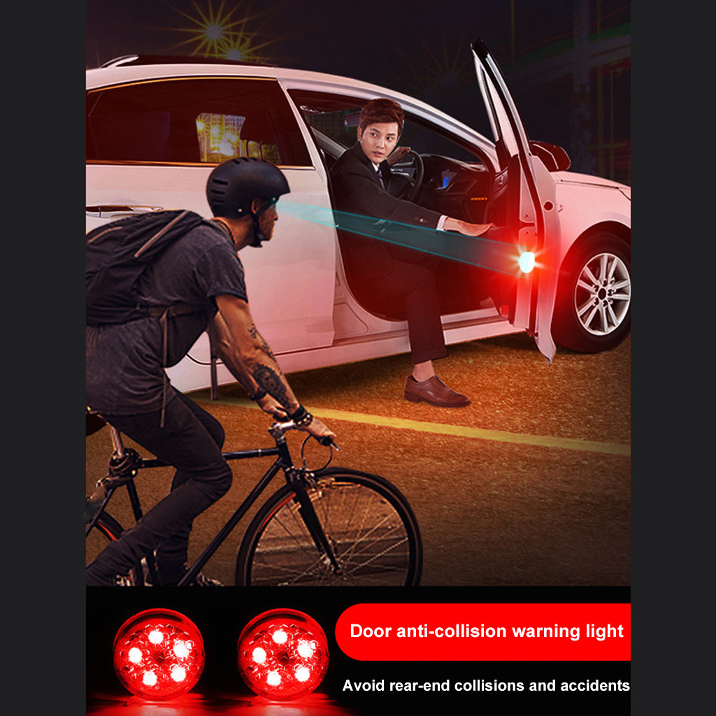 2PC Car Accessories LED Lamps For Cars 5LED Car Door Warning Light Wireless Anti Rear Collision Lamp Kit Flash-in Signal Lamp from Automobiles & Motorcycles