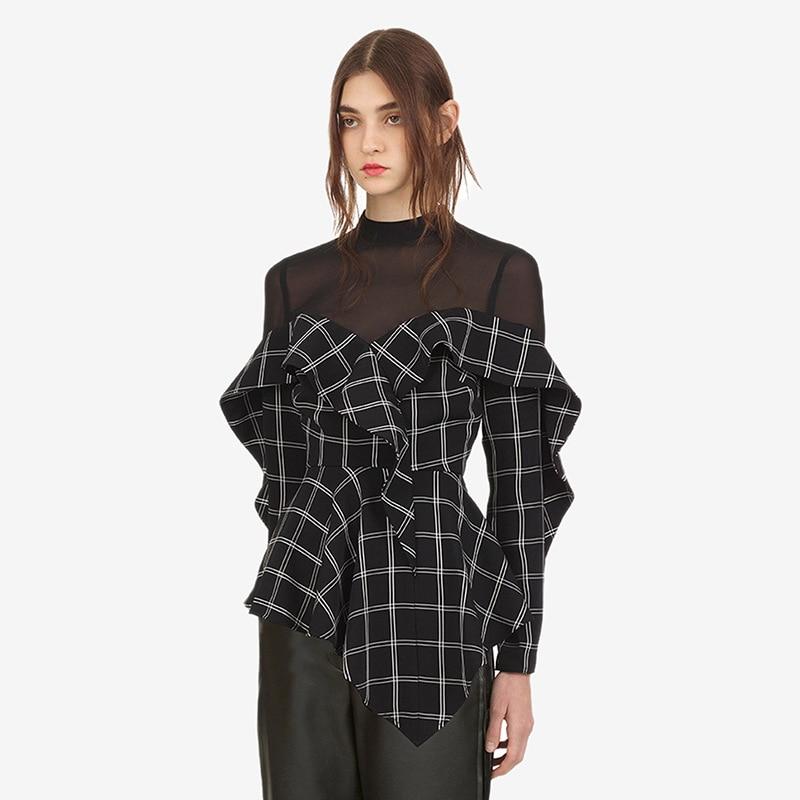 Auto Portrait Blouses femmes Plaid imprimé 2018 automne Designer volants femme à manches longues chemise maille Patchwork hauts de haute qualité