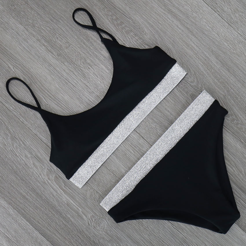 2019 Sexy Black White Bikini Swimwear Women Swimsuit Brazilian Bikini Set Halter Top Beach wear Bathing Suits Biquini female