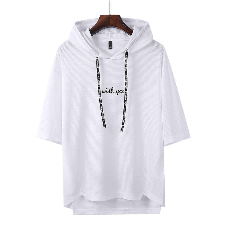 Embroidery Hooded T Shirt Mens Black White Blue Gray Summer Short Sleeve T-shirts Autumn Skateboard Tee Boy Skate Tshirt Tops