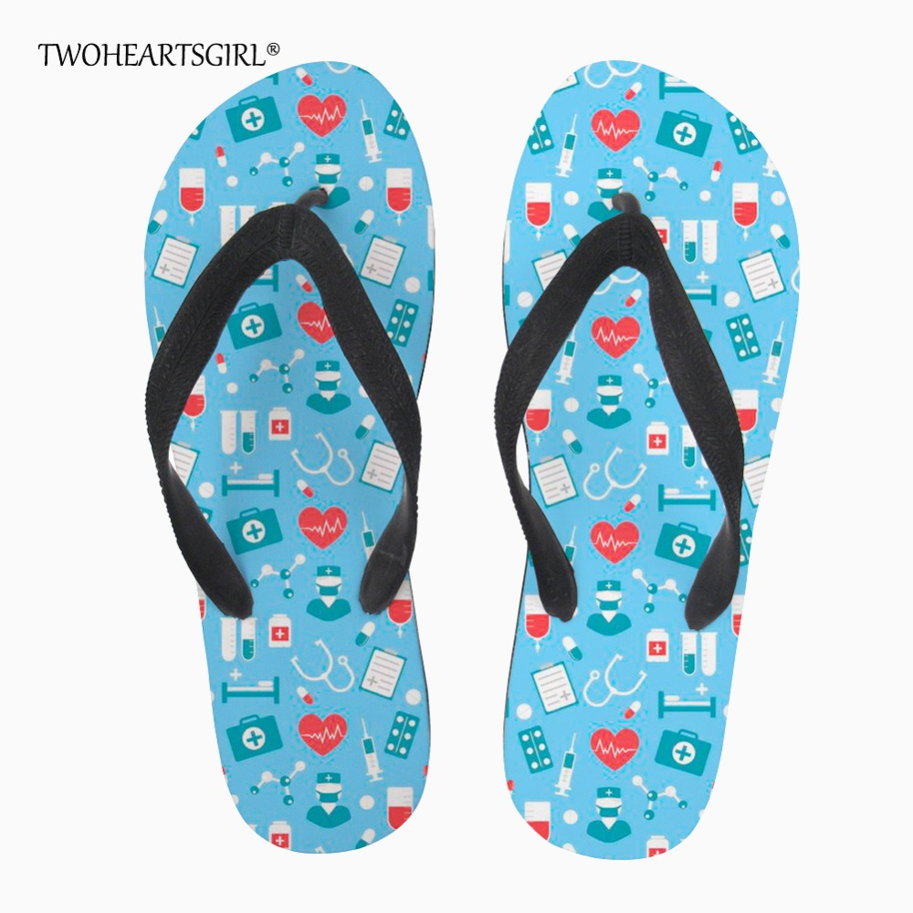 Women's Shoes Flip Flops Twoheartsgirl Heart Pattern Medical Print Flip Flops Summer Beach Women Flat House Slippers Novelty Female Ladies Flipflops Strengthening Sinews And Bones