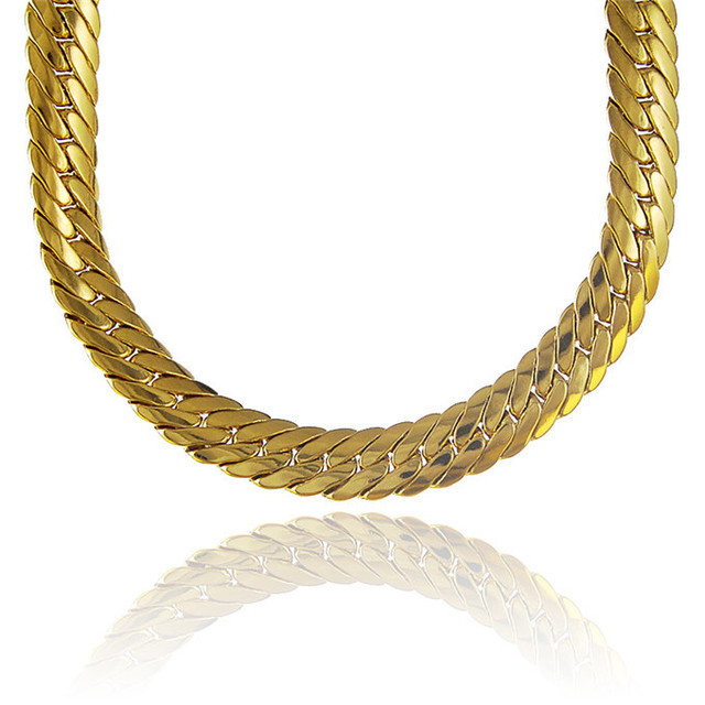 6mm Pattern 2015 New Wholesale 24K Gold Plated Thick Chunky Choker Chain Necklace Jewelry Prom Gift for Men/Women/Girls/Friends