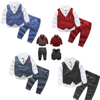 boys clothes kids spring fall long sleeve shirt vest pants coat clothing set economic formal 3pcs pack for party wedding 6 years