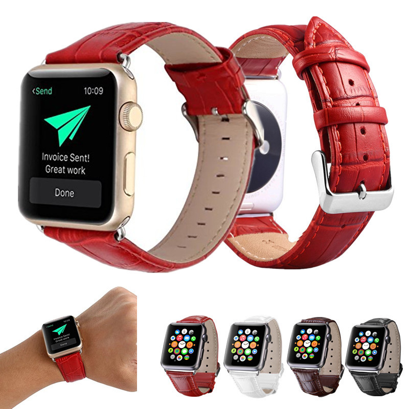 Replacement Wristband For Apple Watch Band 38mm 42mm Metal Clasp Genuine Leather Strap For iWatch Series 3 Series 2 Series 1 cowhide genuine leather strap watch band for apple watch iwatch series 1 series 2 38mm 42mm wristband replacement with adapter