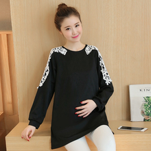 Maternity Tops Tee Clothes LaceT Shirt Long Sleeve Spring Autumn Clothing for Pregnant Women Pregnancy Roupa De Gravida B270