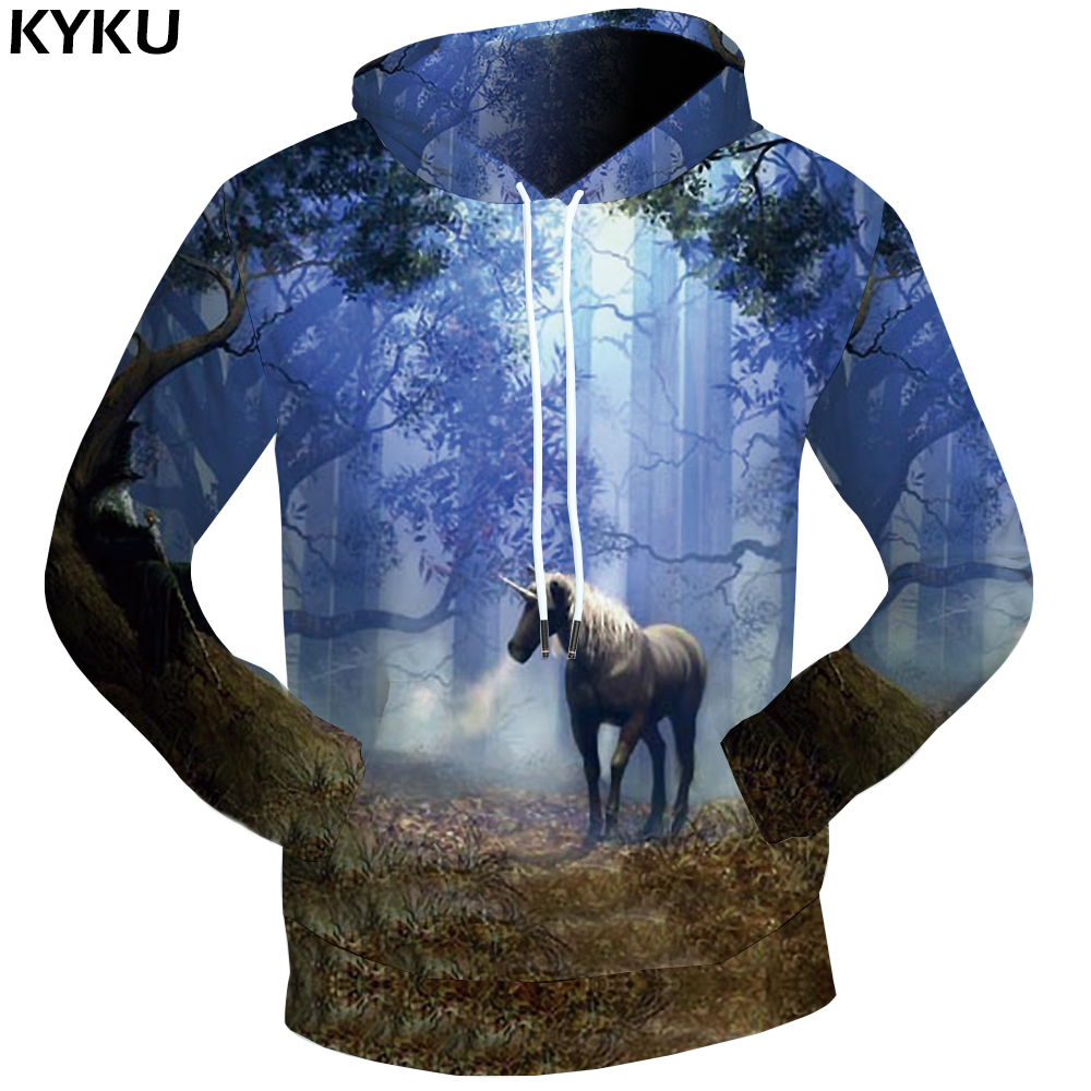KYKU Unicorn Sweatshirts Dream Sweatshirts Male Leaves 3d hoodies Harajuku Hoodie Sweat shirt Clothing Men Print Funny Mens