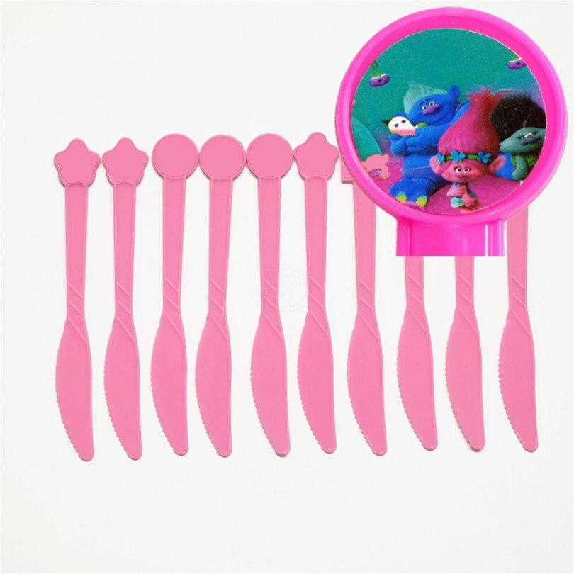 10pcs/lot Disposable Knife Trolls Poppy DJ Suki Guy