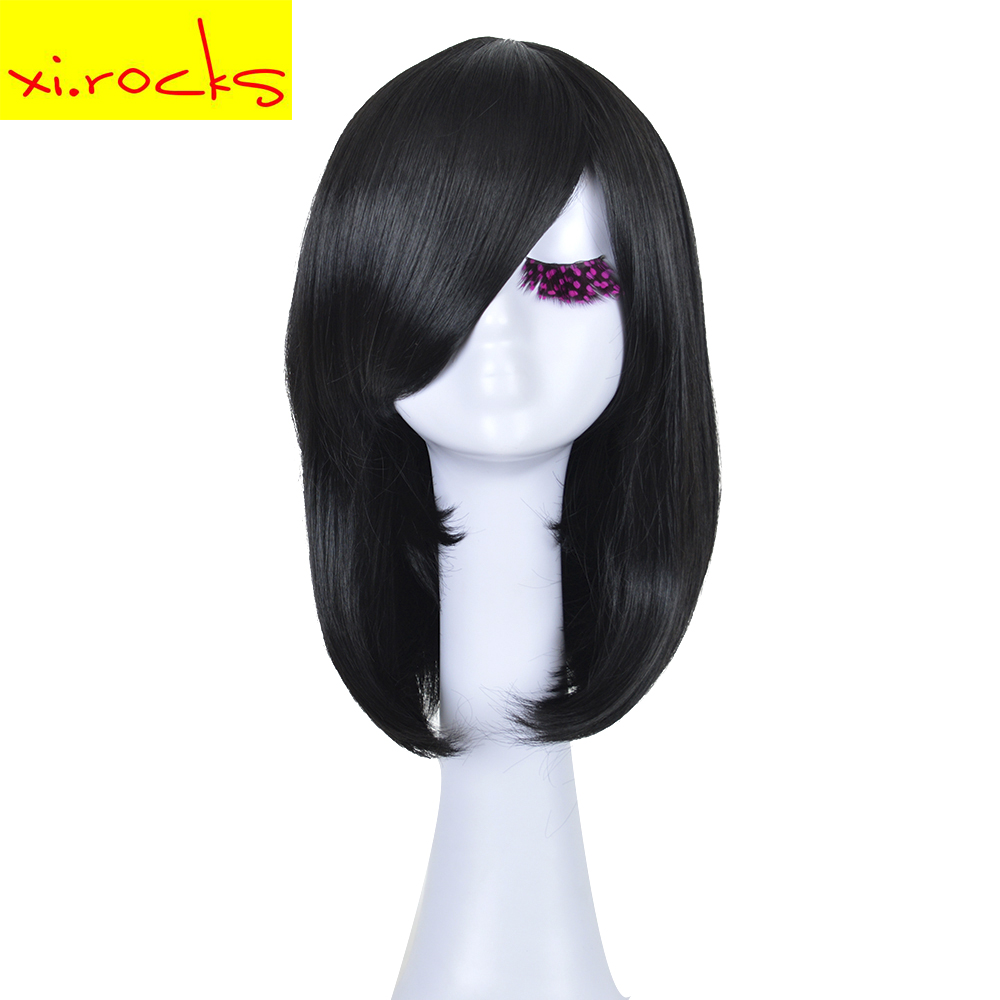 Xi.rocks 16inch Cosplay Bob Black Wavy Synthetic Wig High Temperature Fiber COS Attack on Titan Mikasa Wig For Adult And Child