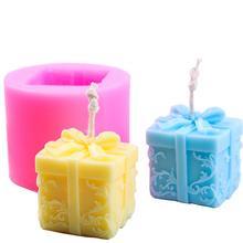 3D Свеча силиконовая форма Рождественская Подарочная коробка форма DIY мыло Арома свеча форма ремесло инструмент торт шоколадная глина ремесла художественная форма