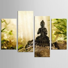 4 Panels HD Printed  Canvas Prints Buddha Statue Painting Wall Art Home Decor Stones Flowers For Living Room