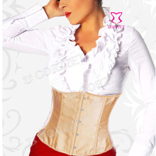 Solid Satin Waist Slimming Underbust Corset Short Bustier Sexy Waist Cincher Corselet Top Women's Corpete Shaper Underwear