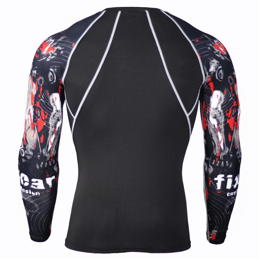 для мужчин фитнес с 3д принтами футболка с длинными рукавами для мужчин бодибилдинг сжатия рубашки кожу жесткой термальность мма кроссфит тренировки топ шестерни