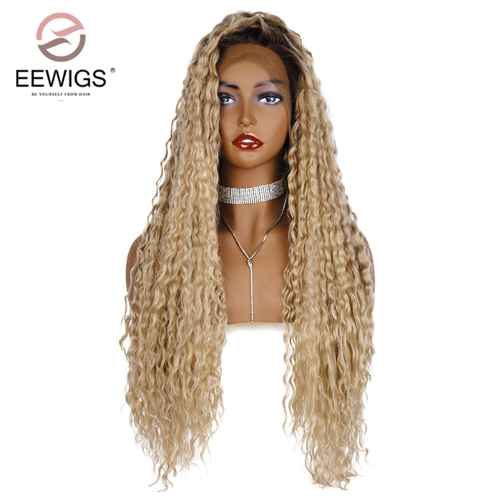 EEWIGS Long Curly Hair Ombre Wig With Natural Hairline Free Parting Glueless Heat Resistant Synthetic Lace Front Wigs For Women