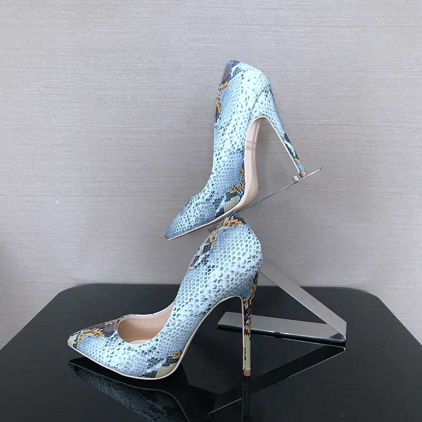 2018 frühling Marke Schuhe Frau High Heels Frauen Dame Pumpt Hoher ferse Schuh Damen Schuhe Schlange Gedruckt beige unteren 8 10 12 cm