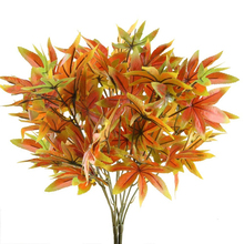 2pcs Artificial Red Maple Leaves Flowers 5 Forks Simulation Fake Plant For Home Wedding Party Mall Decoration