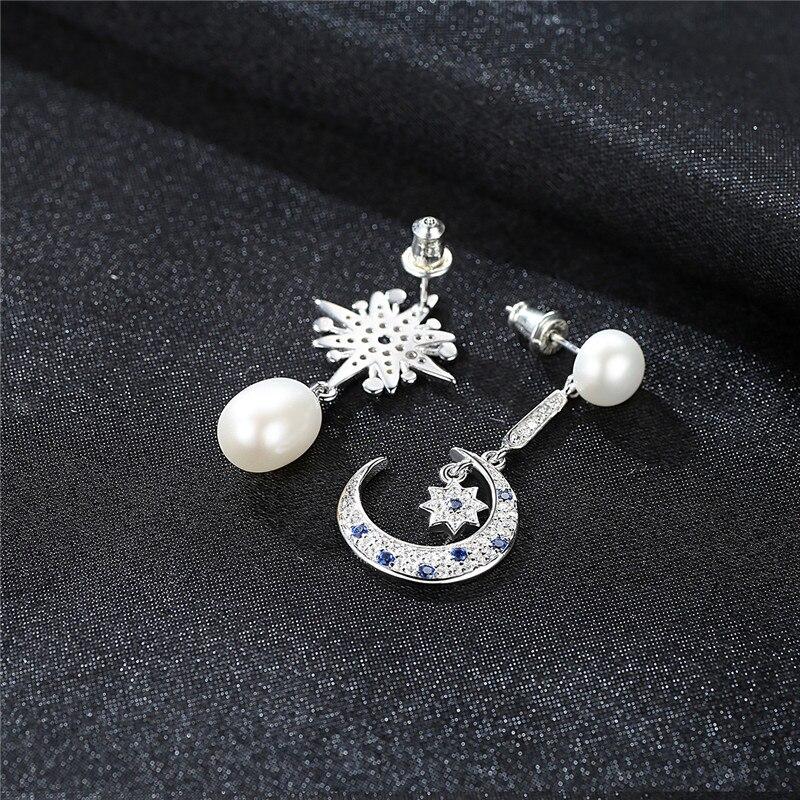 7234076b4 925 Sterling Silver Crescent Half Moon & Star Dazzling Blue CZ Stud  Earrings Silver Pearl Jewelry Earring for Women-in Stud Earrings from  Jewelry ...