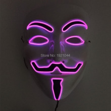 Pink Color EL wire Fashion V for VENDETTA Halloween Cosplay 10 Color Select MASK Costume Guy Fawkes Anonymous for party masks