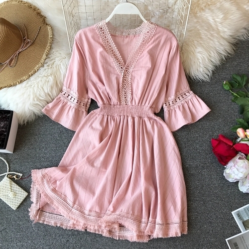 Women Summer New V-neck Short Flare Sleeve High Waist Slim Tassel Casual Dress Vestidos E156
